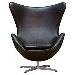 Arne Jacobsen Armchair the Egg Danish Design 1980s Brown Leather