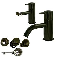 Arne Jacobsen Basin & Bidet Vola Mixer Faucet Set, Moss Green, New in Box, 1960s