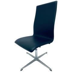 Arne Jacobsen Black Leather Oxford Classic Chair for Republic of Fritz Hansen