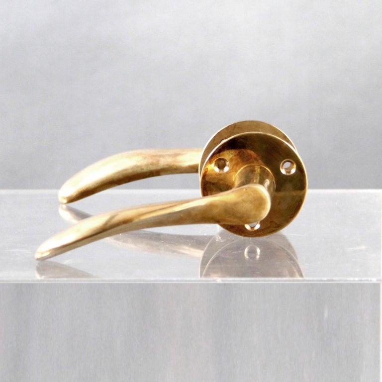 Scandinavian Modern Arne Jacobsen Brass Door Handle Sets For Sale