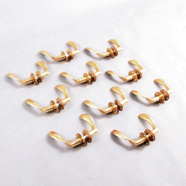 Polished Arne Jacobsen Brass Door Handle Sets For Sale