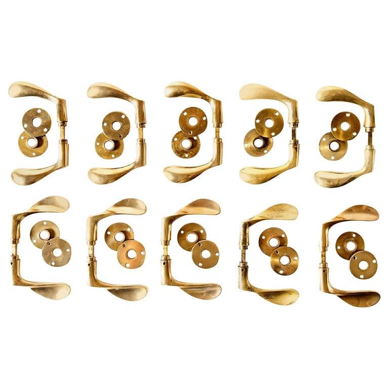 Arne Jacobsen Brass Door Handle Sets For Sale