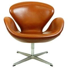 Arne Jacobsen Brown Leather Swan Chair by Fritz Hansen, Denmark