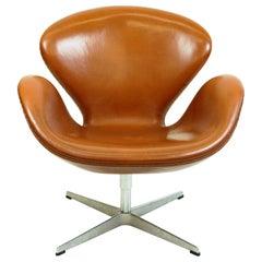 Arne Jacobsen Brown Leather Swan Chair by Fritz Hansen
