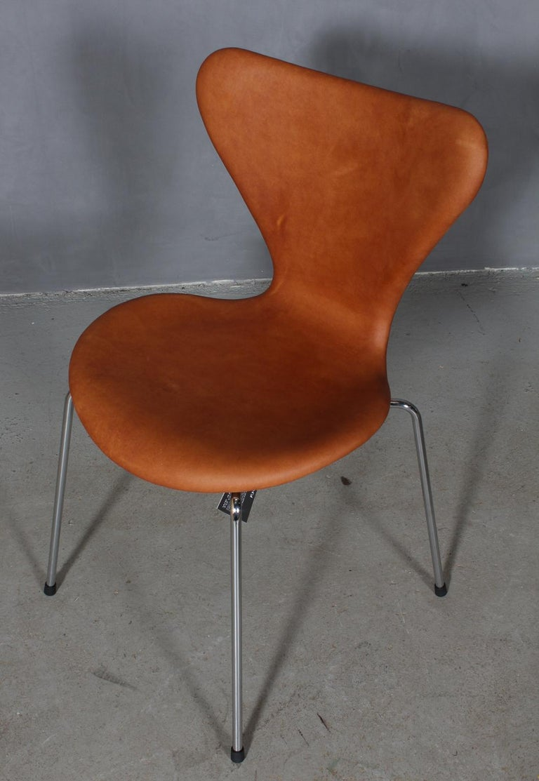 Arne Jacobsen dining chair new upholstered with vintage tan aniline leather.