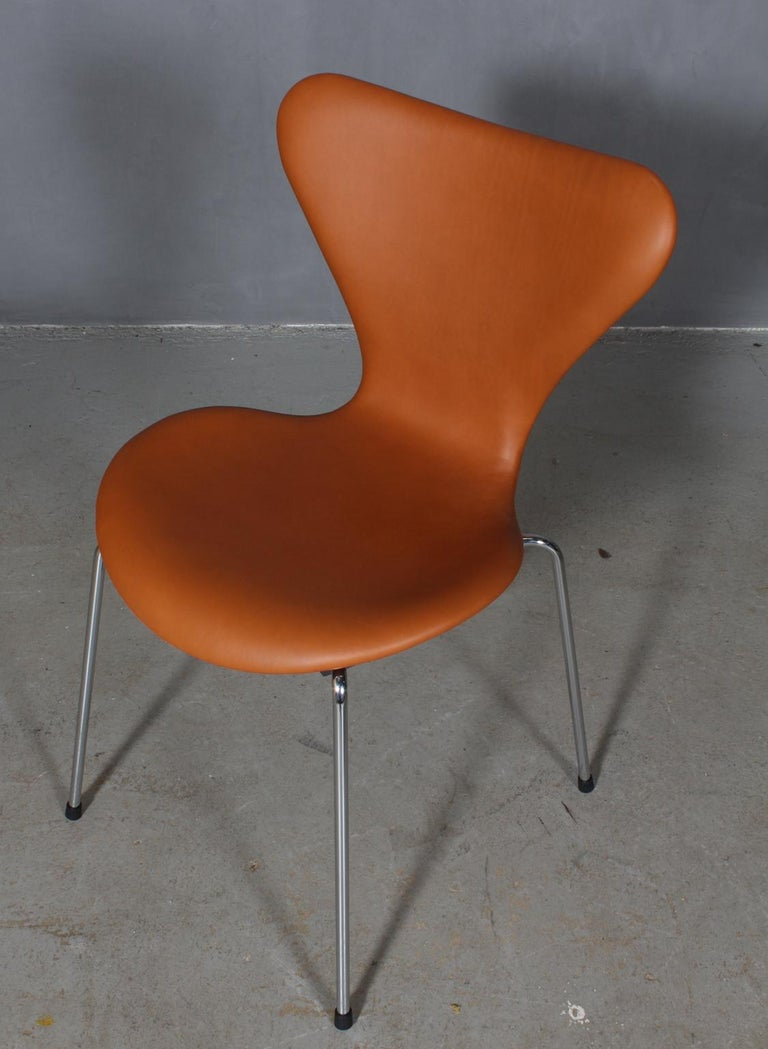 Arne Jacobsen dining chair new upholstered with walnut elegance aniline leather.