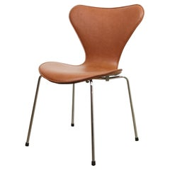 Arne Jacobsen Dining Chair Model 3107 Cognac Leather
