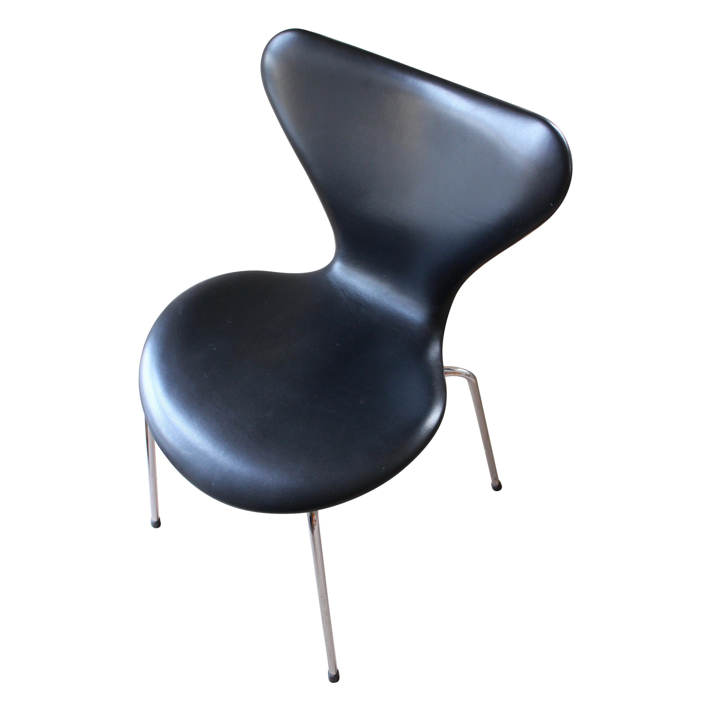 Arne Jacobsen, Dining Chair Or, Series 7, Fritz Hansen, Black Leather