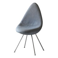 "Arne Jacobsen, ""Drop"" Side Chair from SAS Royal Hotel, Metal, Blue Fabric, 1958"