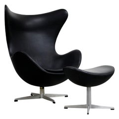 Arne Jacobsen Egg Chair & Stool for Fritz Hansen with Original Leather, Signed