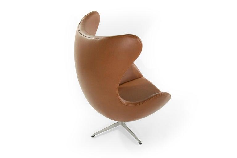 Leather Arne Jacobsen for Fritz Hansen Egg Chair, Denmark, 1966 For Sale