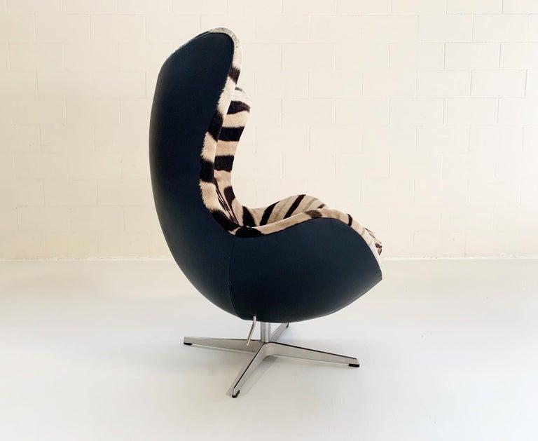 Scandinavian Modern Arne Jacobsen for Fritz Hansen Egg Chair in Zebra Hide and Loro Piana Leather For Sale