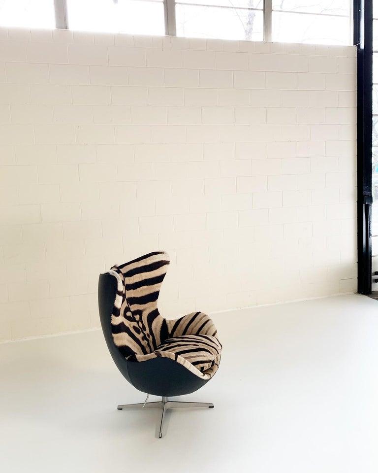 Danish Arne Jacobsen for Fritz Hansen Egg Chair in Zebra Hide and Loro Piana Leather For Sale