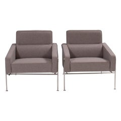 Arne Jacobsen for Fritz Hansen Grey Series 3300 Armchairs, 2002, Set of 2