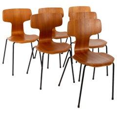 Arne Jacobsen for Fritz Hansen Model 3103 MCM Teak Hammer Dining Chairs, Set of