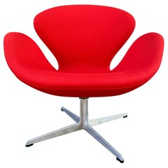 Arne Jacobsen for Fritz Hansen Red Swan Chair
