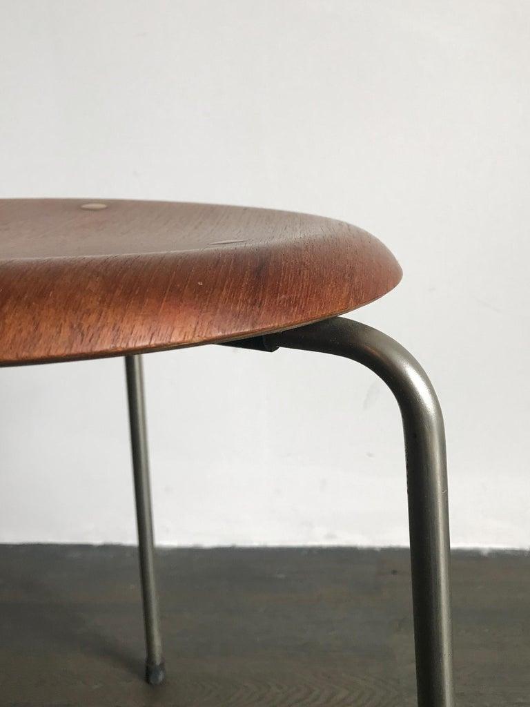 Danish Arne Jacobsen for Fritz Hansen Scandinavian Brass Teak Dot Stool, 1950s