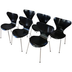 Arne Jacobsen for Fritz Hansen Series 7 Side Chairs, Set of Six