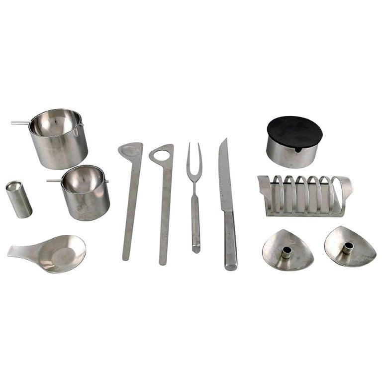 """Arne Jacobsen for Stelton, """"Cylinda Line"""" Salad Set, Carving Set, Two Ashtrays For Sale"""