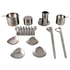 "Arne Jacobsen for Stelton, ""Cylinda Line"" Salad Set, Two Ashtrays, Sugar Bowl"