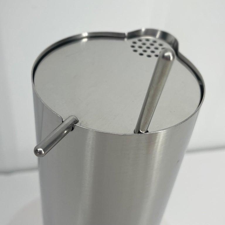 Brushed Arne Jacobsen for Stelton Mid-Century Modern Cocktail Shaker and Stir Spoon For Sale