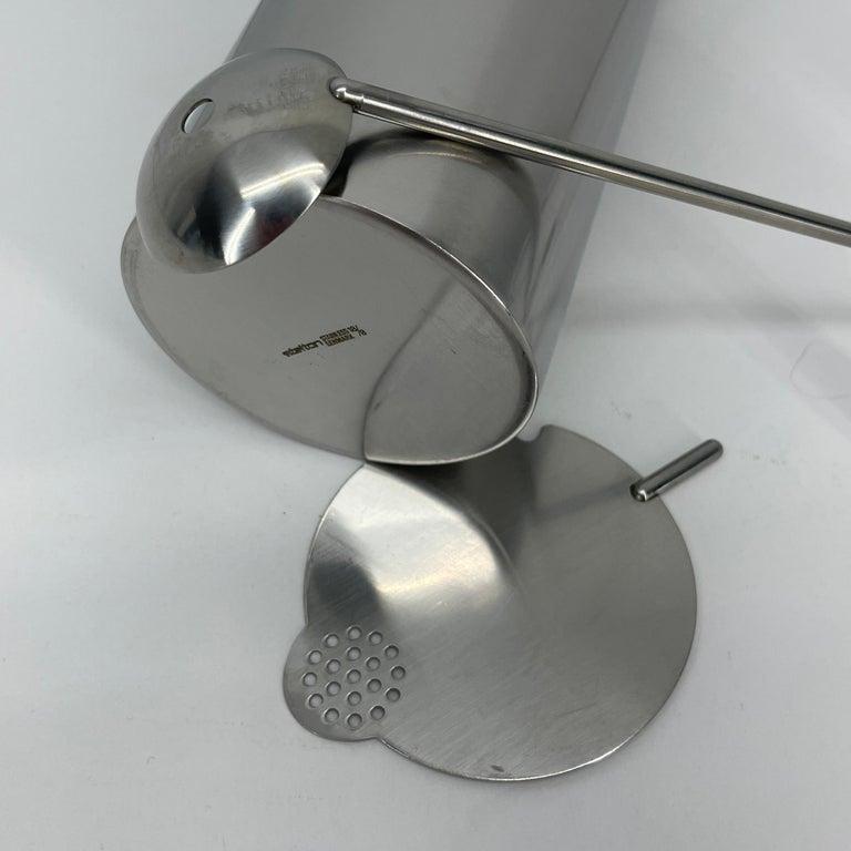 Aluminum Arne Jacobsen for Stelton Mid-Century Modern Cocktail Shaker and Stir Spoon For Sale