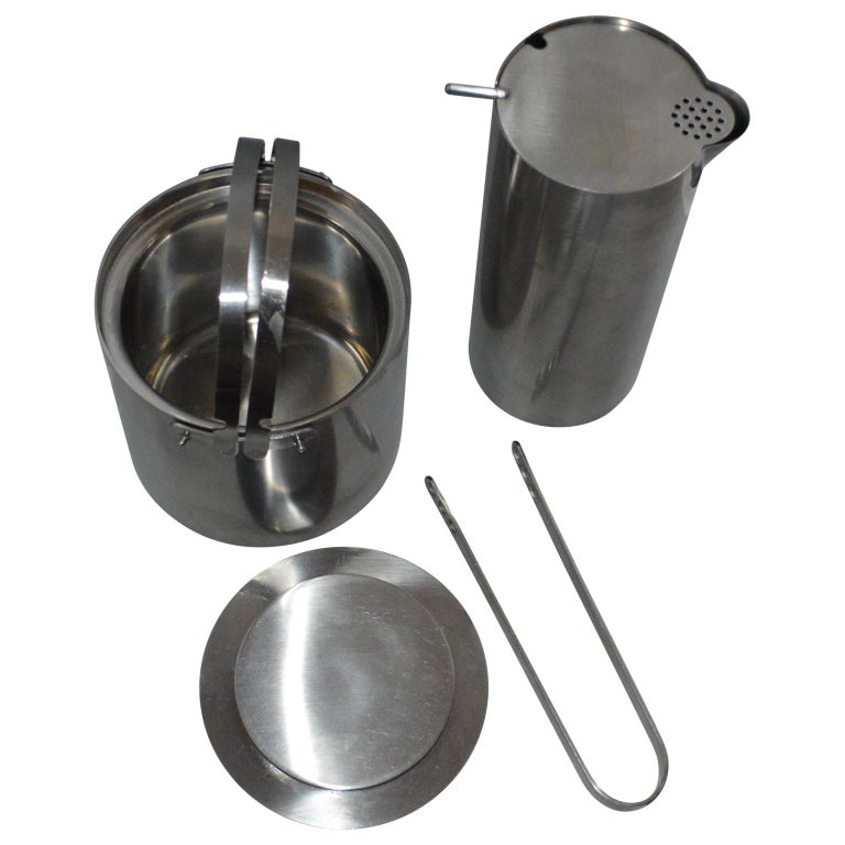 Brushed Arne Jacobsen for Stelton Pitcher, Ice Bucket and Tongs For Sale