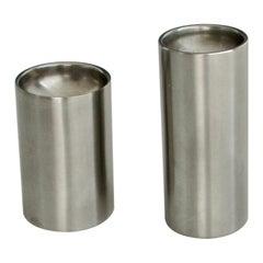 Arne Jacobsen for Stelton Stainless Steel Cylinder Salt Pepper Shakers Denmark