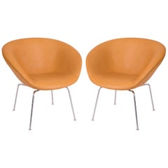 Arne Jacobsen Fritz Hansen Leather Pot Chairs