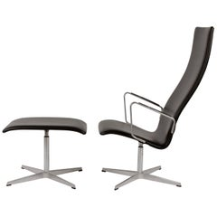 Arne Jacobsen Fritz Hansen Midcentury Design Oxford Lounge Chair Black Leather