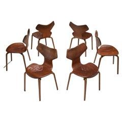 """Arne Jacobsen """"Grand Prix"""" Chairs for Fritz Hansen, Denmark 1950s"""