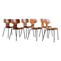 Arne Jacobsen Hammer Chairs for Fritz Hansen Model 3103 Set of Six, circa 1960s