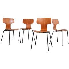Arne Jacobsen Hammer chairs in teak for Fritz Hansen, Denmark