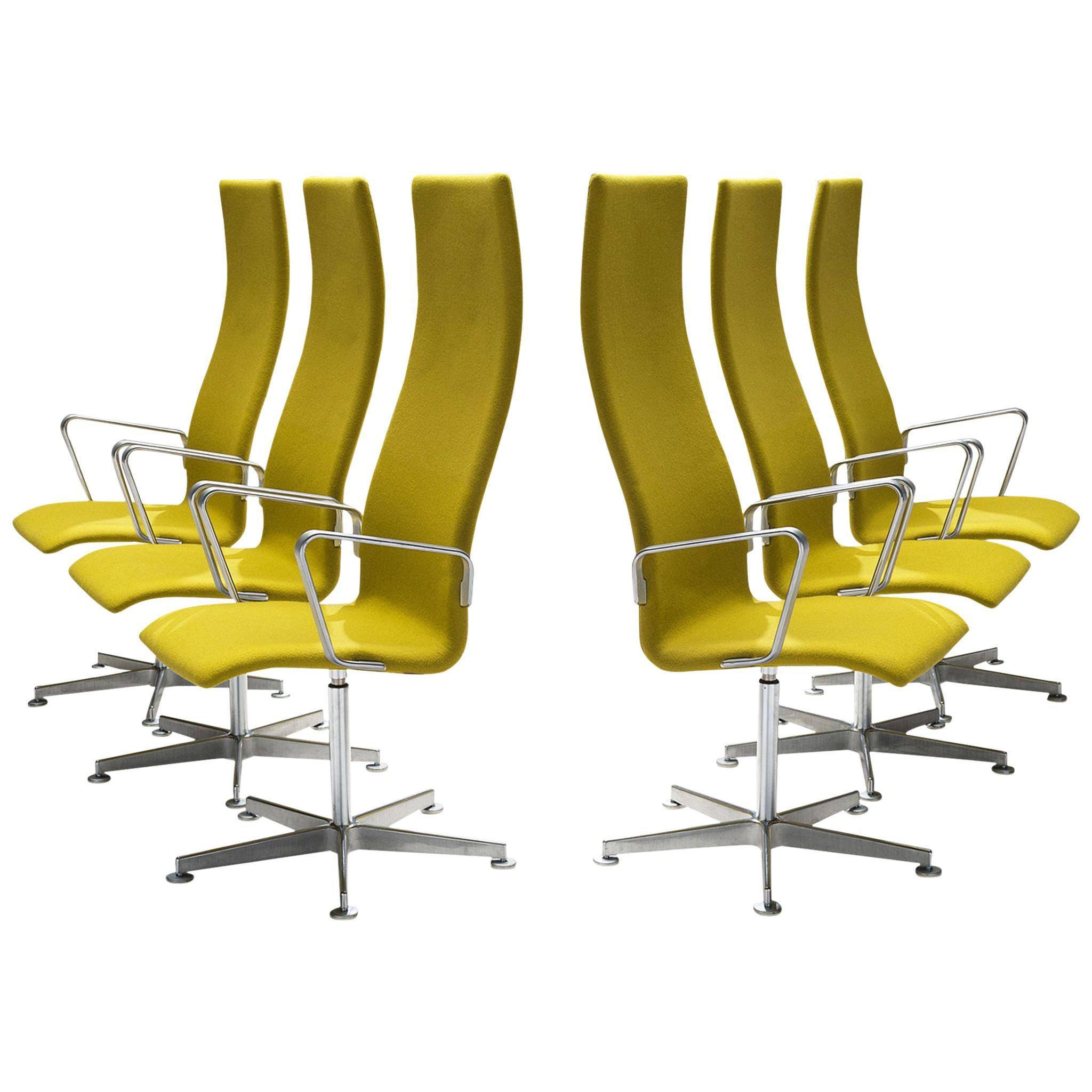 Arne Jacobsen High Back 'Oxford' Swivel Chairs
