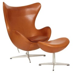 Arne Jacobsen Leather Egg Chair and Ottoman, circa 1990s