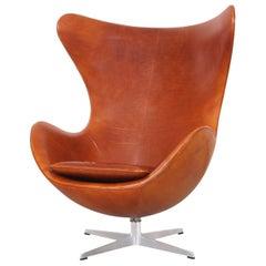 """Arne Jacobsen Leather """"Egg"""" Swivel Lounge Chair for Fritz Hansen"""