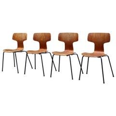 Arne Jacobsen Model 3103 Hammer Chairs Set of 4 for Fritz Hansen Circa 1960s