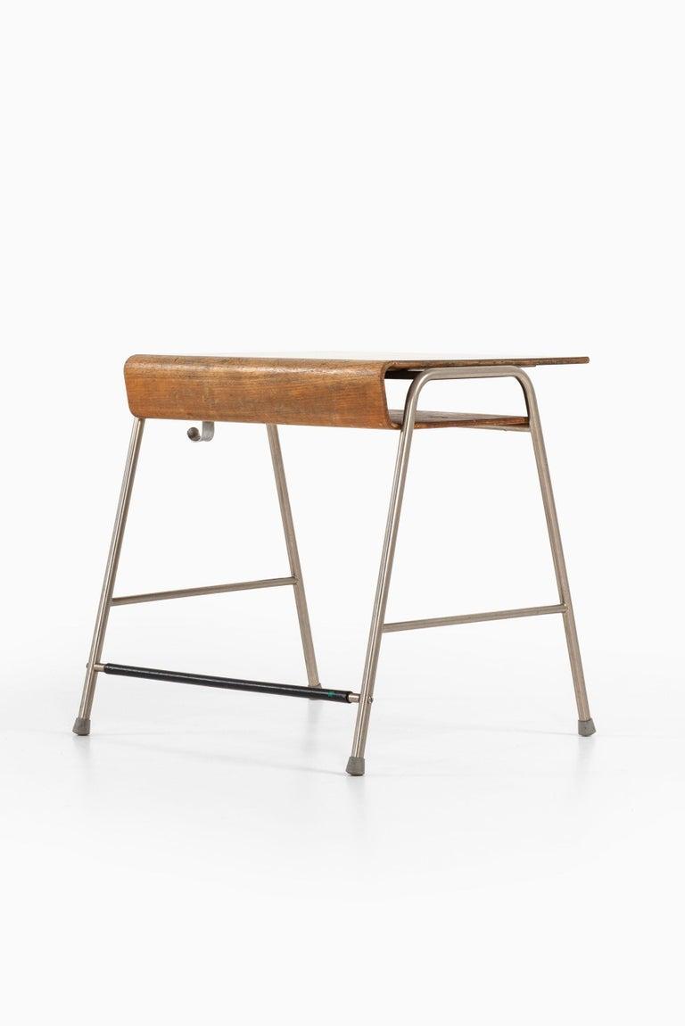 Steel Arne Jacobsen Munkegaard School Desk Produced by Fritz Hansen in Denmark For Sale