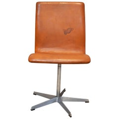 Arne Jacobsen Oxford Chair by Fritz Hansen Denmark Tan Leather