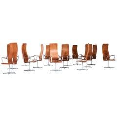 Arne Jacobsen Oxford Chairs Model 3272 by Fritz Hansen in Denmark