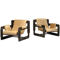 Arne Jacobsen Pair of 'Rover' Lounge Chairs in Wood and Leather