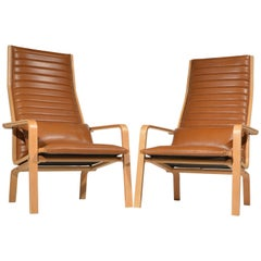 Arne Jacobsen Pair of Saint Catherine's Chairs in Cognac Leather