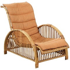 "Arne Jacobsen ""Paris Chair"", Easy Chair with Frame of Bamboo with Woven Cane"