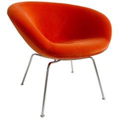 Arne Jacobsen Pot Chair, Loro Piana Orange Velvet