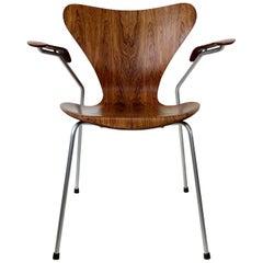 Arne Jacobsen Rosewood Armchair n°3207 by Fritz Hansen, circa 1955, Denmark