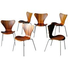 Arne Jacobsen, Series 7 Chairs in Rosewood, Set of 6