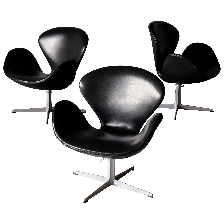 Arne Jacobsen, Set of 3 Swan Chairs