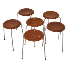 "Arne Jacobsen Set of 6 Stools Model ""AJ3170"" in Teakwood, Fritz Hansen, 1950s"