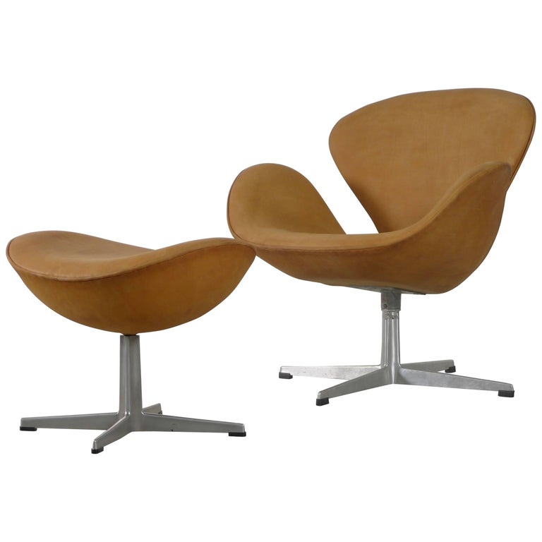Arne Jacobsen Swan Chair And Ottoman Newly Reupholstered In Tan