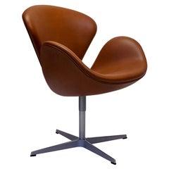 Arne Jacobsen Swan Chair by Fritz Hansen, New Upholstery, Higher Seat Height
